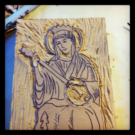 """""""Our Lady of Bluegrass"""" linocut turned shirt design."""